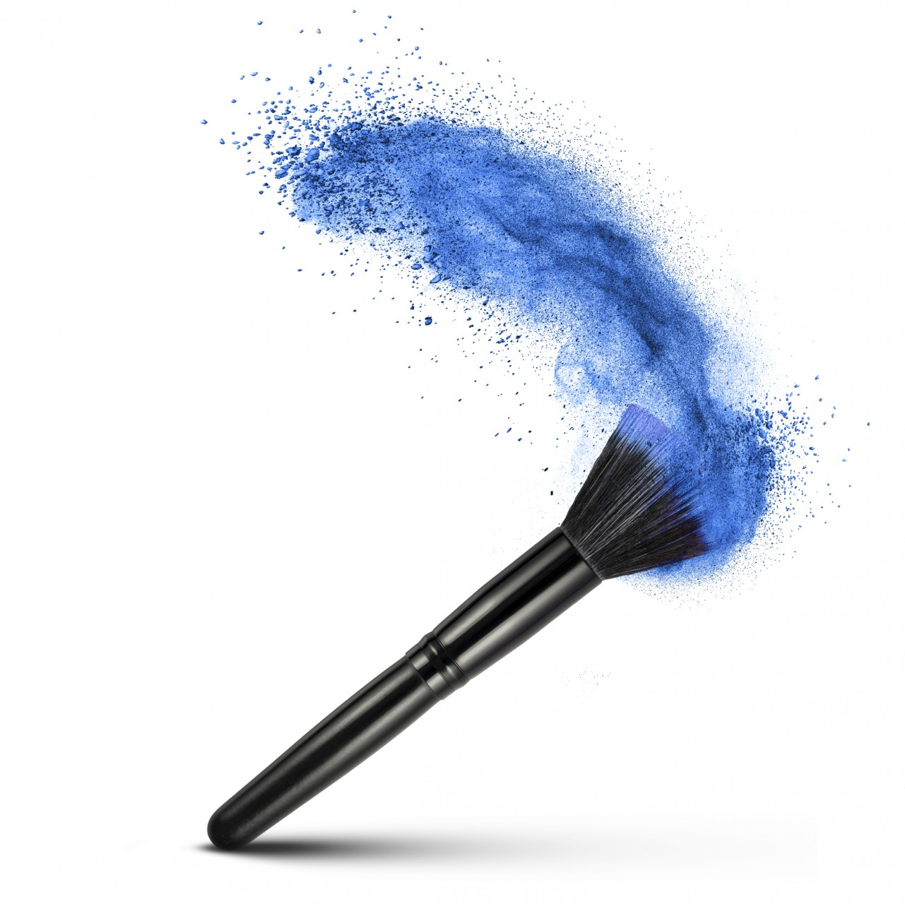 makeup brush with blue powder isolated